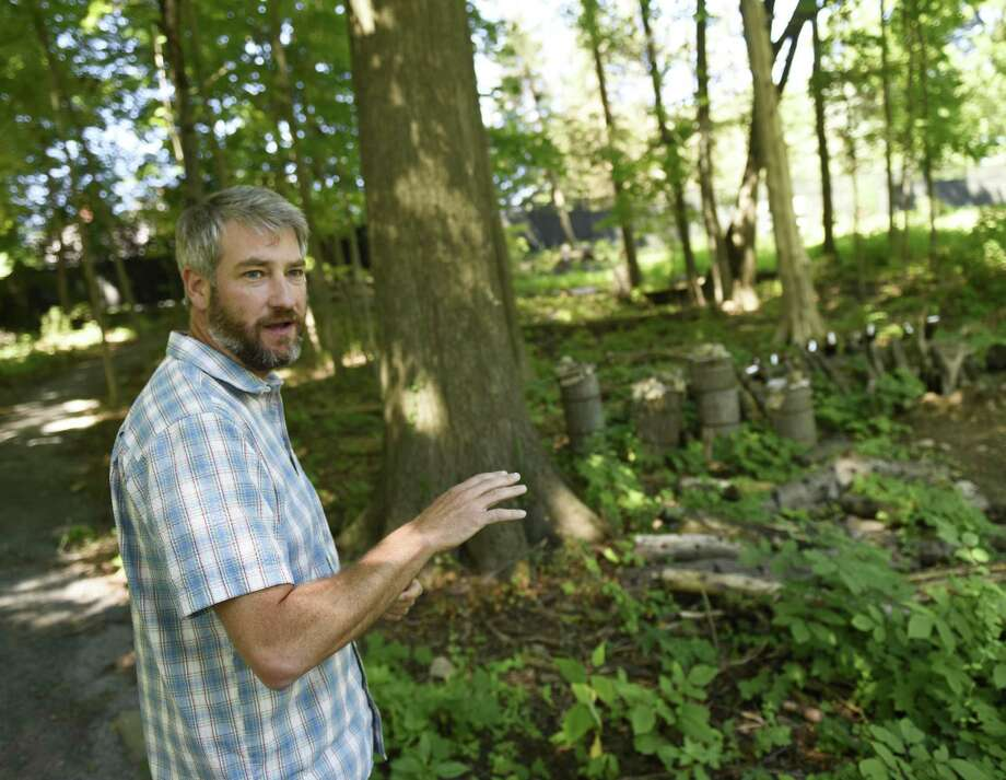 Greenwich Land Trust Executive Director Will Kies shows the shitake mushroom farm along the new accessible walking trail at the Mueller Preserve. The GLT will host a family-friendly, introductory walk focused on the diversity of mushrooms and molds that are key to ecosystem health in our natural spaces from 3:30 to 5 p.m. Thursday. Registration required at gltrust.org/events. Cost is $15 per family for members, $20 per family for nonmembers. Photo: File / Tyler Sizemore / Hearst Connecticut Media / Greenwich Time