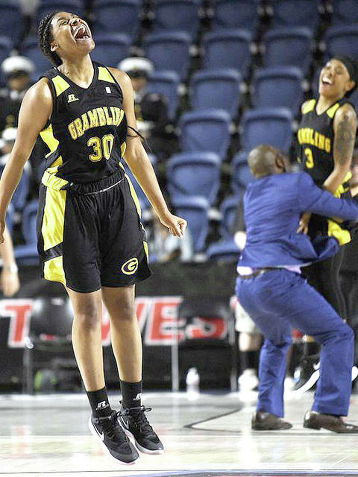 Grambling State forward Alexus Williams (30) celebrates the team's 72-68 win over Southern, in the championship of the Southwestern Athletic Conference last March in Houston.Williams, who averaged 13.1 points per game for Grambling, has transferred to Lewis and Clark Community College. She scored 23 points for LCCC in its season-opening win over Arkansas State-Midsouth.