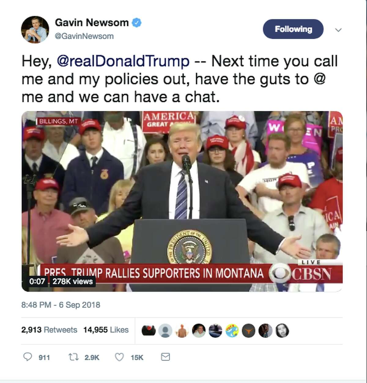 Gavin Newsom responded to Trump on Twitter saying,