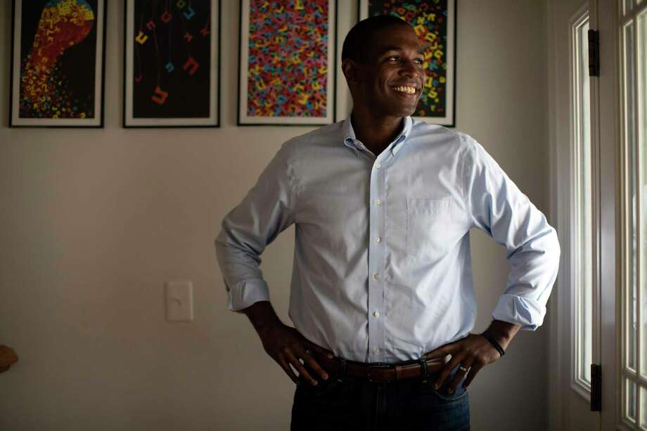 "Antonio Delgado, a Democratic candidate for the House, at his home in Rhinebeck, N.Y., July 15, 2018. Of all Delgado's accomplishments, it's another part of his past — a fledgling rap career under the stage name ""AD the Voice"" — that is receiving the most attention in the early days of his race against the incumbent, Rep. John Faso (R-N.Y.). (Nathaniel Brooks/The New York Times) Photo: NATHANIEL BROOKS / NYTNS"