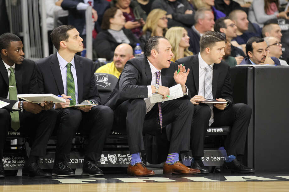 Siena men's basketball assistant coach Carmen Maciariello, second from right, played at Shenendehowa High and Siena. Photo: Stew Milne