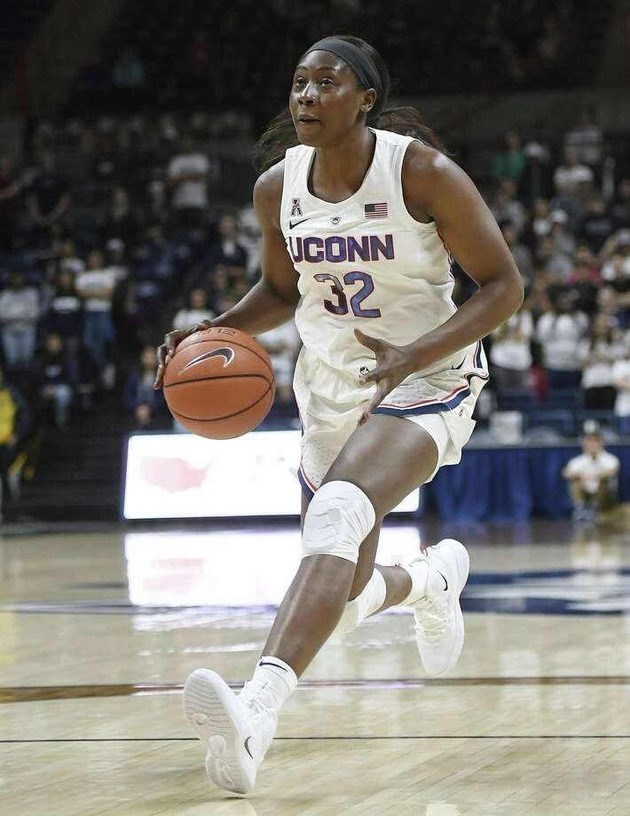 UConn's Batouly Camara during the second half of an exhibition game Sunday. Photo: Jessica Hill / Associated Press / Copyright 2018 The Associated Press. All rights reserved