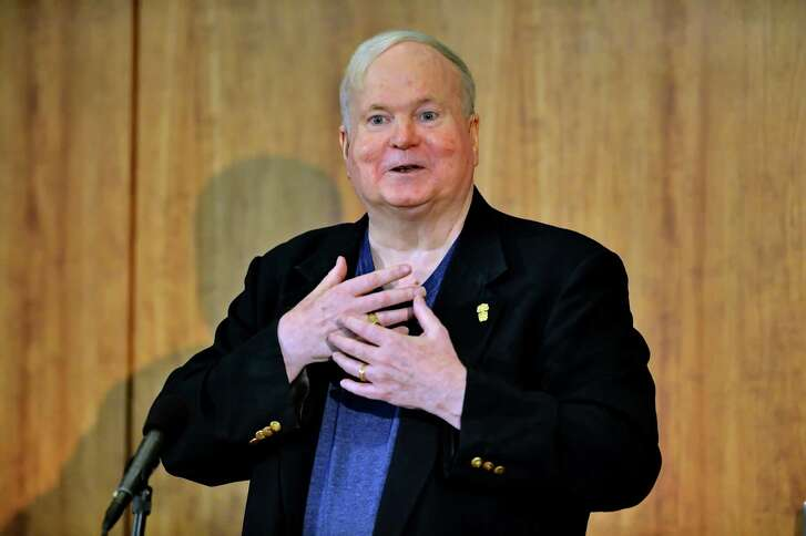 Author Pat Conroy speaks to a crowd during a ceremony in 2014 at the Hollings Library in Columbia, S.C. There was an event Nov. 1-4 in Beaufort, S.C. honoring the author, who died in 2016.