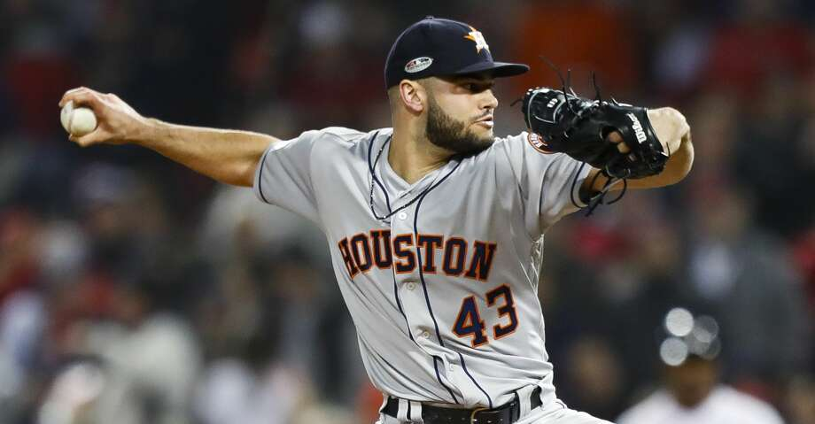 Houston Astros relief pitcher Lance McCullers Jr. (43) pitches during the seventh inning of Game 2 of the American League Championship Series at Fenway Park on Sunday, Oct. 14, 2018, in Boston. Photo: Brett Coomer/Staff Photographer