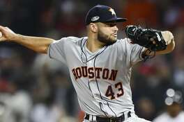 Houston Astros relief pitcher Lance McCullers Jr. (43) pitches during the seventh inning of Game 2 of the American League Championship Series at Fenway Park on Sunday, Oct. 14, 2018, in Boston.