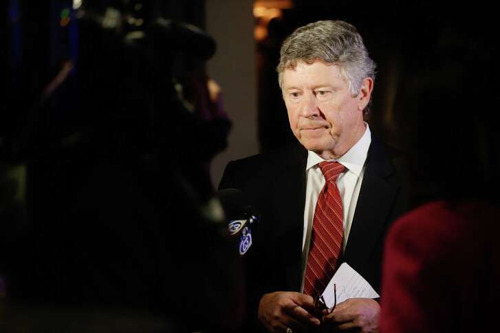 Harris County Judge Ed Emmett speaks to the media after he gave a speech conceding his race during his election watch party at Hotel ZaZa, 5701 Main St., Tuesday, Nov. 6, 2018.