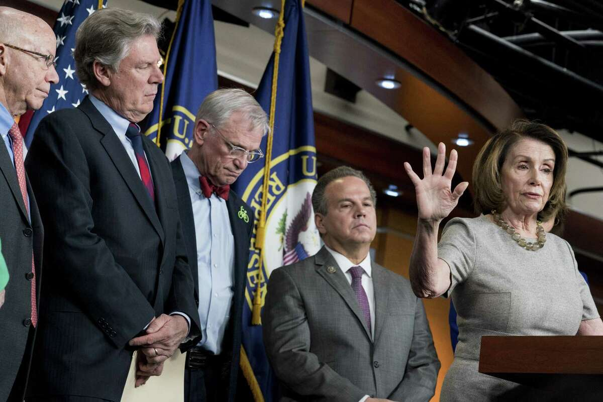 House Minority Leader Nancy Pelosi (D-Calif.) with from left: Peter DeFazio (D-Ore.), Rep. Frank Pallone (D-NJ), Rep. Earl Blumenauer (D-Ore.) and Rep. David Cicilline (D-R.I.) After winning control of the House, Democrats are expected to be more interested in combating climate change than boosting oil and gas production.