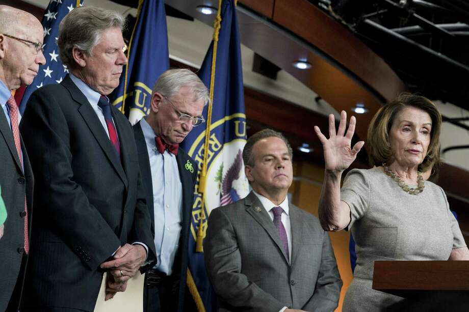 House Minority Leader Nancy Pelosi (D-Calif.) with from left: Peter DeFazio (D-Ore.), Rep. Frank Pallone (D-NJ), Rep. Earl Blumenauer (D-Ore.) and Rep. David Cicilline (D-R.I.) After winning control of the House, Democrats are expected to be more interested in combating climate change than boosting oil and gas production. Photo: ERIN SCHAFF, STR / NYT / ONLINE_YES