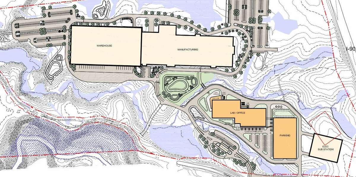 A site plan of the new Regeneron campus being built on Tempel Lane in East Greenbush. The warehouse is built, but the other buildings still need approval