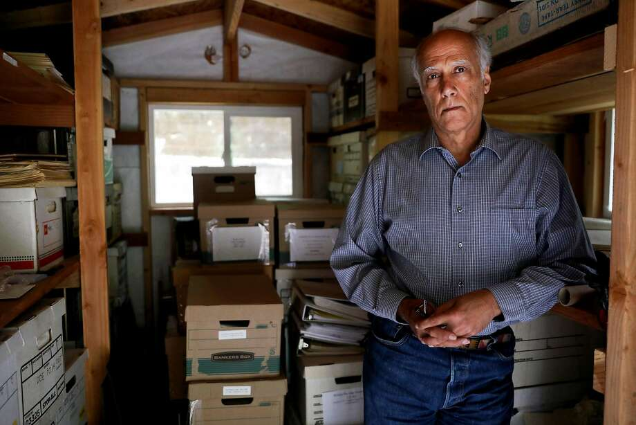 Daniel Hirsch, retired director of the environmental and nuclear policy program at the University of California Santa Cruz, keeps boxes of research material and documents in several sheds on his property in Ben Lomond. Photo: Guy Wathen / The Chronicle