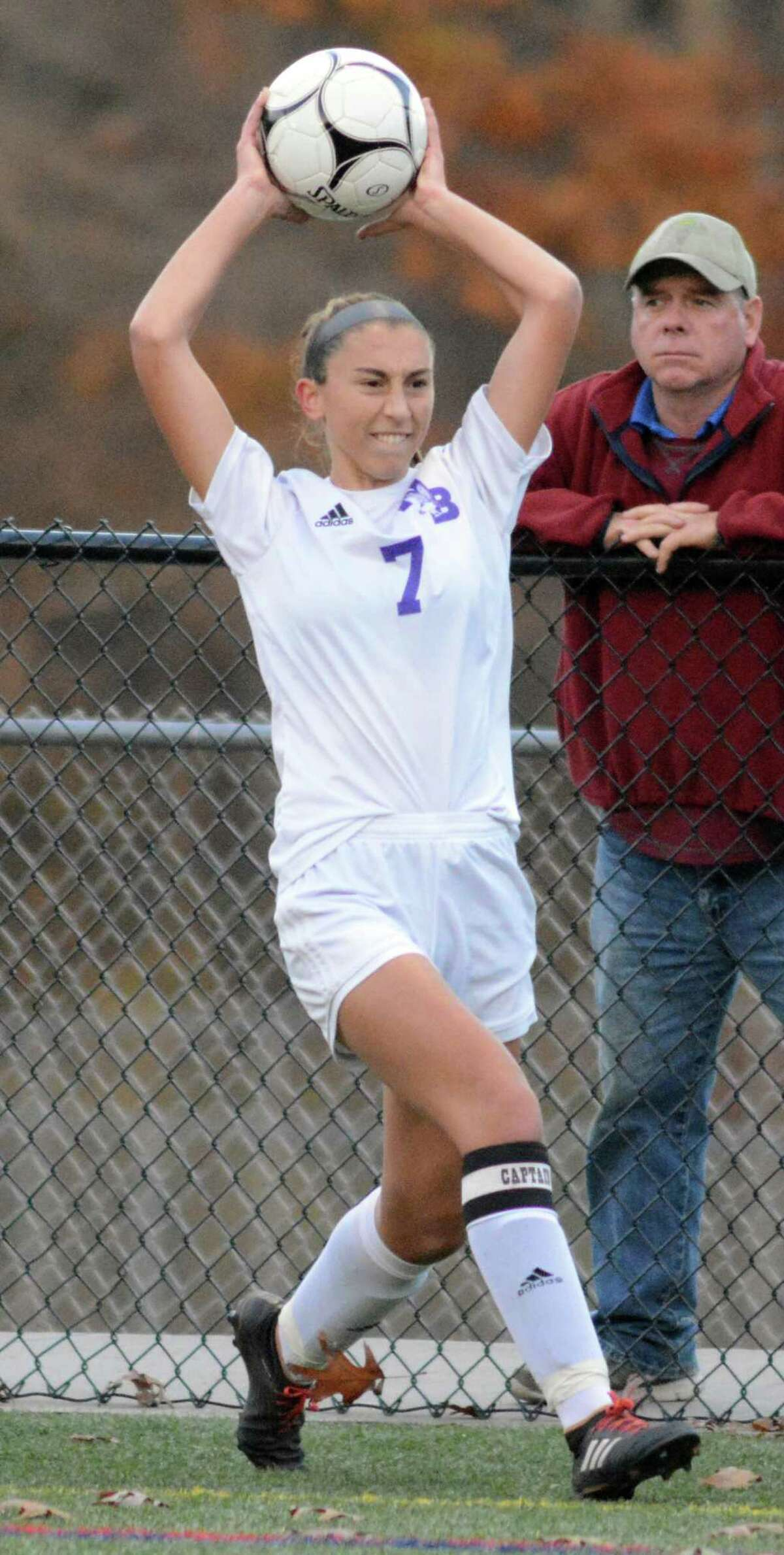 North Branford's Ana Pavic throw the ball in during a Class M girls soccer playoff game against Morgon on Wednesday, Nov. 7, 2018 in Clinton, Conn. Morgan won 2-1.
