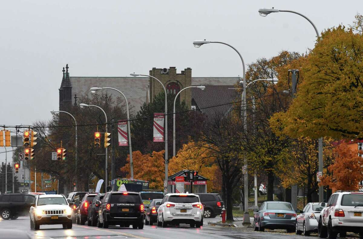 Streetlights are seen along Central Avenue on Tuesday, Nov. 6, 2018, in Albany, N.Y. Albany is poised to borrow $29.3 million to purchase its streetlights from National Grid and upgrade them to LED lighting with the hope of saving money in the long run on usage. (Will Waldron/Times Union)