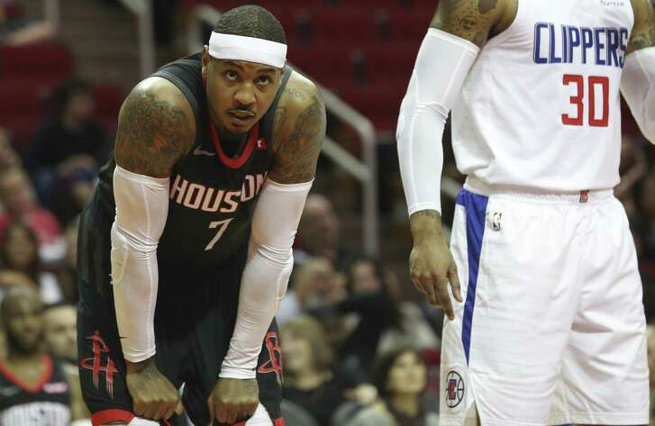 Off the Rockets' bench, Carmelo Anthony has averaged 17.7 points.