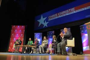 Former New Jersey Gov. Chris Christie appeared before a packed auditorium at Fairfield University Wednesday to discuss the outcome of the midterm elections.