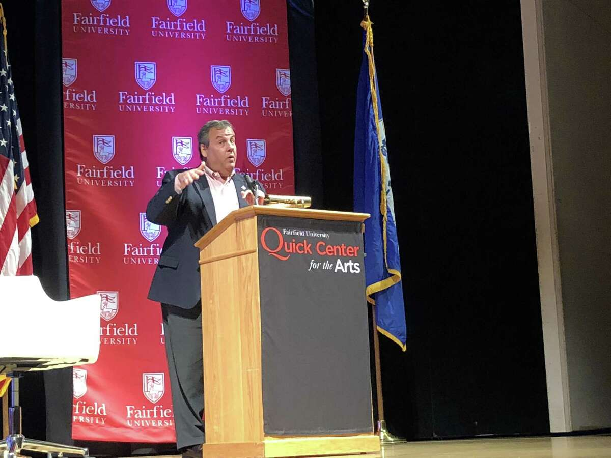 Former New Jersey Gov. Chris Christie appeared before a packed auditorium at Fairfield University Wednesday, Nov. 7 to discuss the outcome of the midterm elections.
