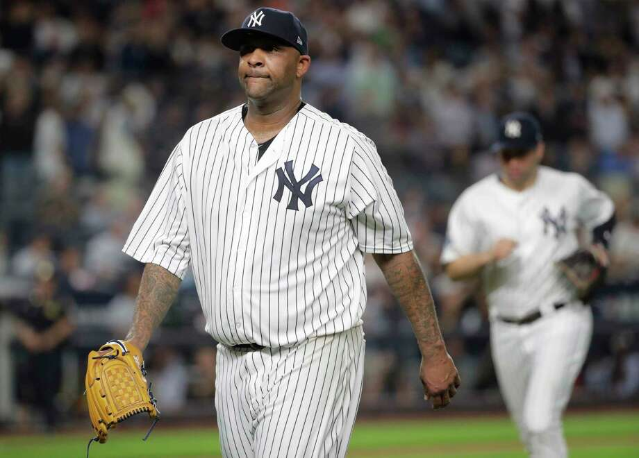 New York Yankees starting pitcher CC Sabathia walks off the field at the end of the third inning of Game 4 of baseball's American League Division Series against the Boston Red Sox, Tuesday, Oct. 9, 2018, in New York. (AP Photo/Frank Franklin II) Photo: Frank Franklin II / Copyright 2018 The Associated Press. All rights reserved.