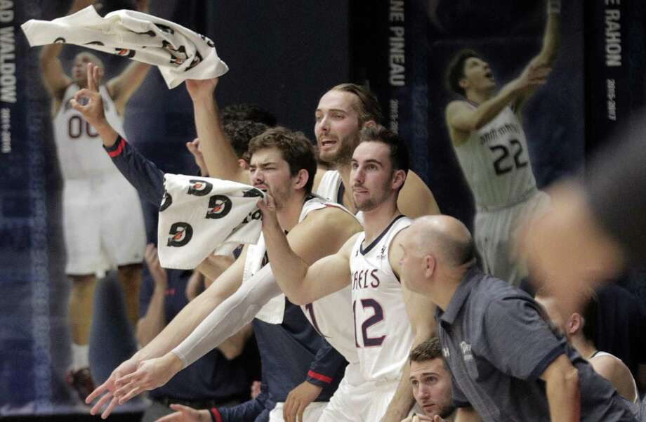 The St. Mary's Gaels' bench reacts to a made three-pointer in the first half as the St. Mary's Gaels played the McNeese State Cowboys at McKeon Pavilion in Moraga, Calif., on Wednesday, November 7, 2018. Photo: Carlos Avila Gonzalez / The Chronicle / ONLINE_YES