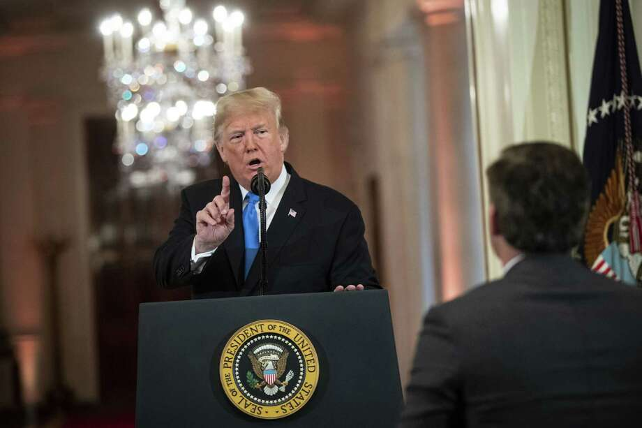 President Donald Trump argues with CNN reporter Jim Acosta during a news conference in the East Room of the White House in Washington on Nov. 7, 2018. Photo: Bloomberg Photo By Al Drago. / © 2018 Bloomberg Finance LP