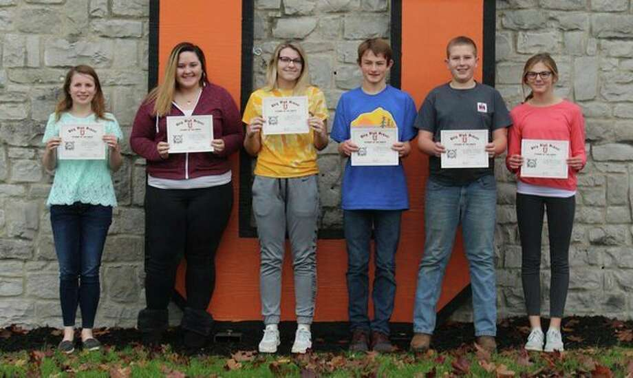 Ubly Community Schools recently announced October's Students of the Month. They are (from left): Rebecca Particka, grade 12; Madison Sebra, grade 11; Kylee Brandt, grade 10; Theron Harris, grade 9; Anthony McCarty, grade 8; and Aran Harris, grade 7. (Submitted Photo)