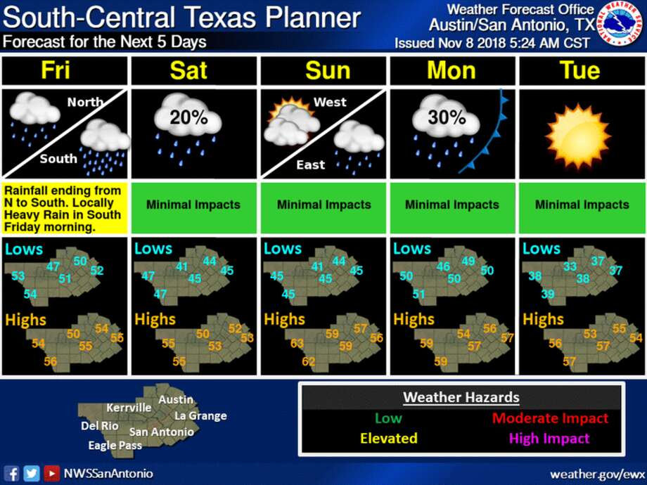 Temperature lows could hit the upper 30s in San Antonio early next week. Photo: Courtesy Of National Weather Service