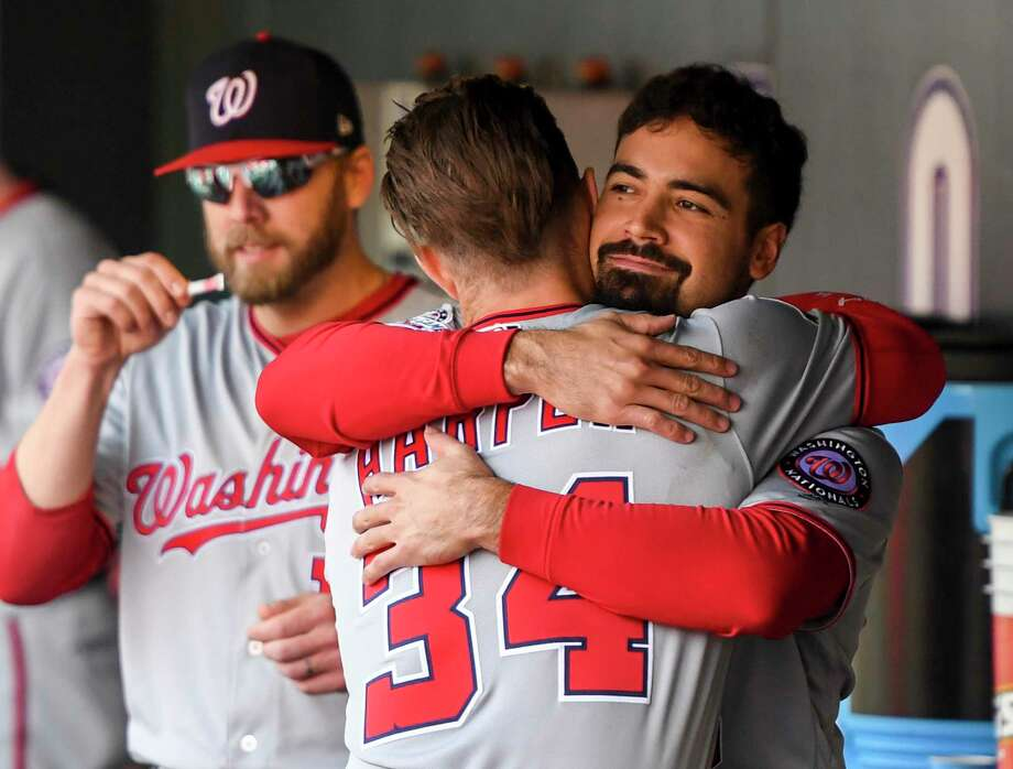 Anthony Rendon, right, figures to be a key part of the Nationals' future plans, especially if they don't re-sign Bryce Harper. Photo: Washington Post Photo By Jonathan Newton / The Washington Post