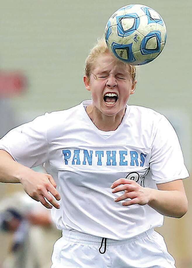 Blackburn College sophomore defender Erica Bechtold, shown in action during her prep years as a Jersey Panther, started all 18 games this season for Blackburn. She scored two goals to lead the Beavers to a 3-0 nonconference home win over Rockford on Sept. 22. Photo: Billy Hurst File Photo | For The Telegraph