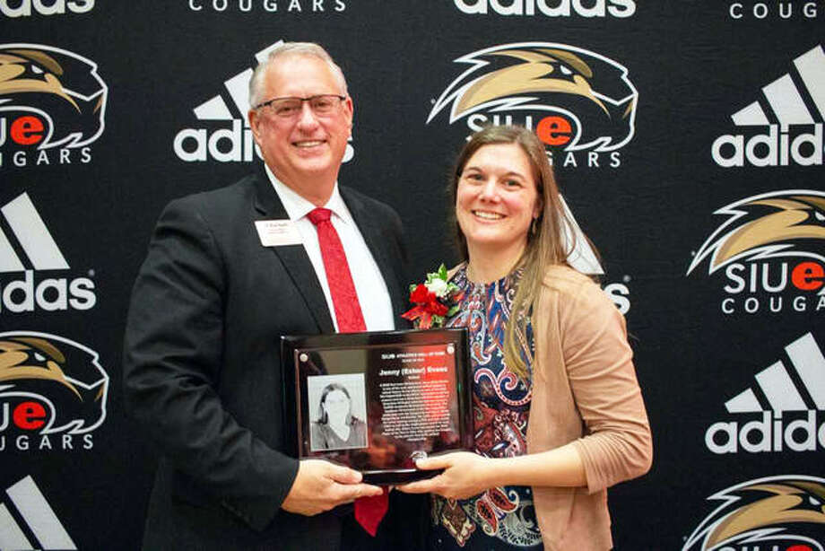 Southern Illinois University Edwardsville Director of Athletics Brad Hewitt, PhD, (left) and Jenny Esker Evans pose at the SIUE Athletics Hall of Fame Induction Ceremony on Oct. 13. Photo: For The Intelligencer
