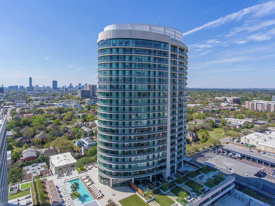 The swank 25-story elliptical-shaped building, located in the Upper Kirby area, features 199 units.