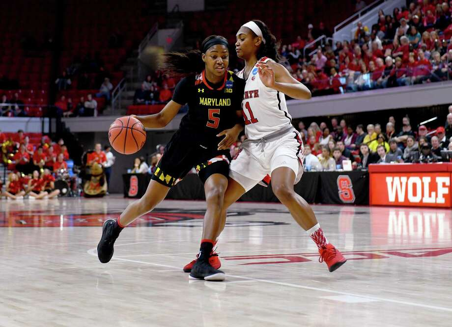 "Kaila Charles (5) averaged a team-high 17.9 points last season but coach Brenda Frese said, ""I spent a lot of time talking to her about, 'Your scoring average is going to go down,' "" this offseason. Photo: Washington Post Photo By Katherine Frey / The Washington Post"