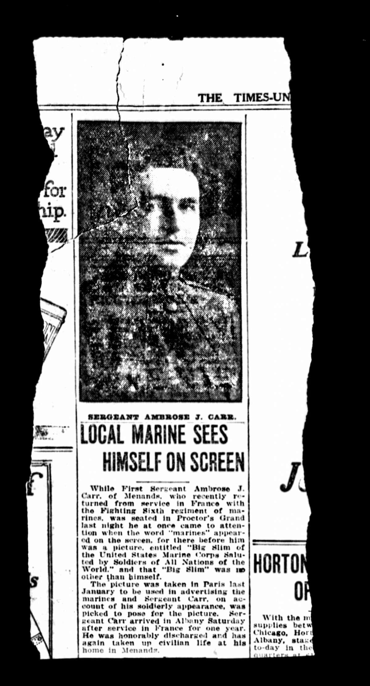 After Ambrose Carr of Menands returned from World War I service, he sat down to watch a film at The Grand in Albany when he saw an advertising slide from the Marine Corps that featured him. (Times Union Archive/State Archives)