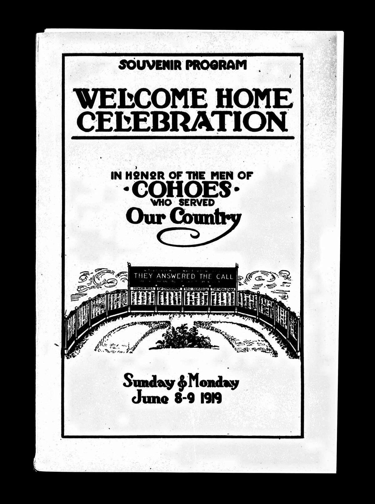 A 1919 Cohoes program promotes a Welcome Home Celebration for U.S. soldiers. (New York State Archives)
