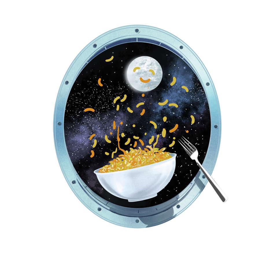 Illustration for story KIDSPOST-SPACE-FOOD (Rachel Feltman). Photo: Illustration For The Washington Post By Jonathan Bartlett / Jonathan Bartlett