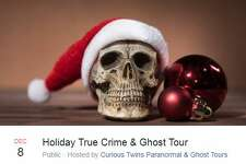 Three holiday true crime and ghost tours are scheduled for December.