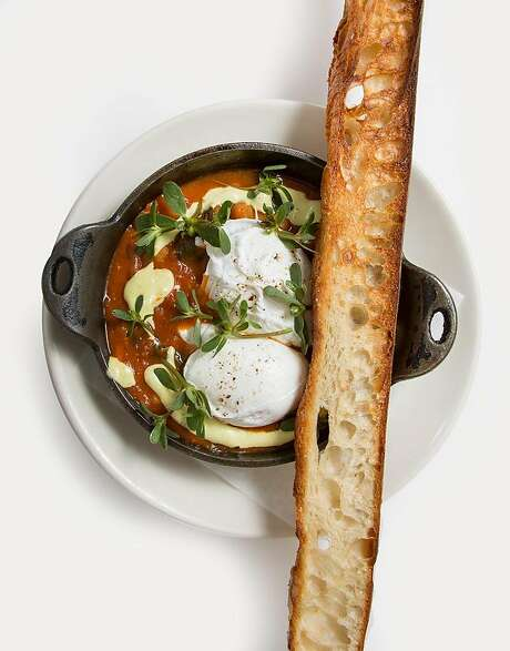 Shakpeas with toasted baguette, known in the restaurant as long toast, at Sqirl in Los Angeles. Photo: Scott Barry