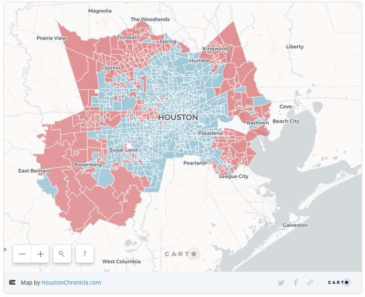 The Houston Chronicle mapped results from precincts across Harris County and found inner Houston neighborhoods voted significantly higher in support of O'Rourke, while Houston voters farther out in the suburbs voted overwhelmingly for Cruz.
