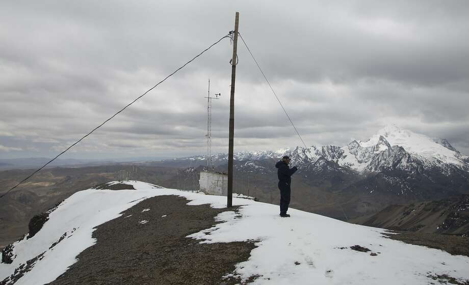 The Chacaltaya station, which is the world's highest atmospheric observatory at 17,192 feet, collects data on pollution that has contributed to the rapid disappearance of Andean glaciers. Photo: Juan Karita / Associated Press