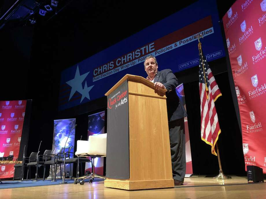Former New Jersey Gov. Chris Christie appeared before a packed auditorium at Fairfield University Wednesday to discuss the outcome of the midterm elections. Photo: Kaitlyn Krasselt / Hearst Connecticut Media / Norwalk Hour