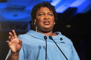 Georgia Democratic gubernatorial candidate Stacey Abrams addresses supporters during an election night watch party, Tuesday, Nov. 6, 2018, in Atlanta. Abrams spoke about expecting a runoff with Republican opponent Brian Kemp.