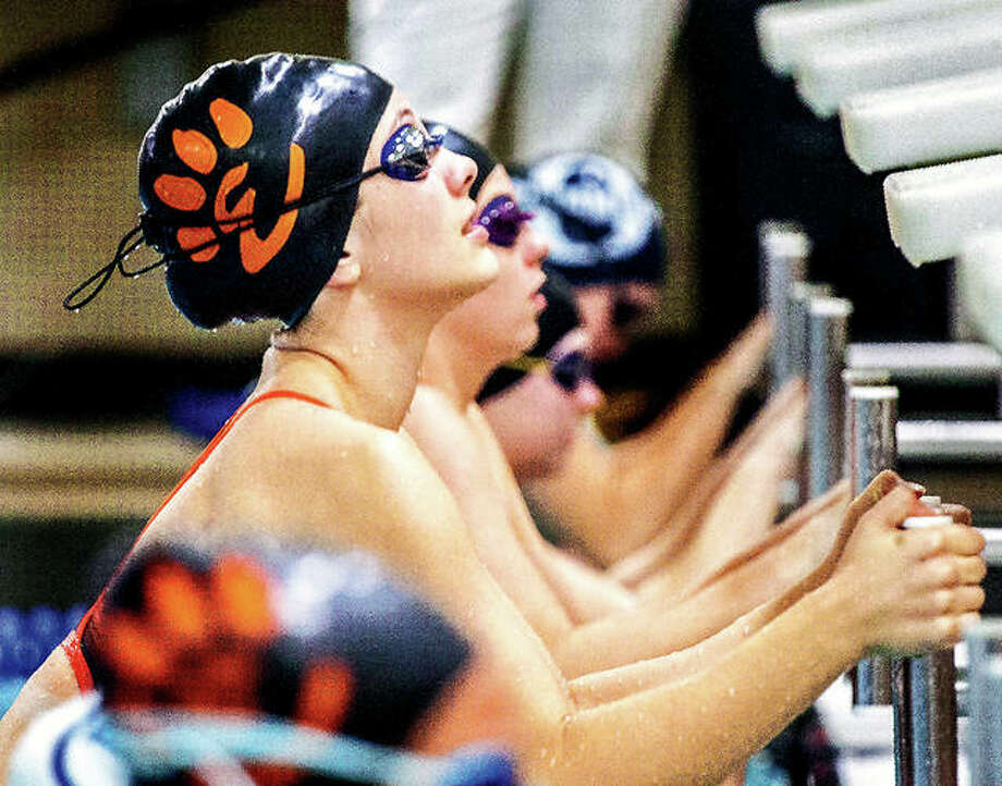 Phoebe Gremaud of Edwardsville will swim the at Saturday's Sacred Heart-Griffin Sectional meet in Springfield, The Tigers are aiming for their fifth consecutive team title. Gremaud is shown in earlier action at the Chuck Fruit Aquatic Center. Photo: Telegraph Photo