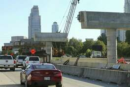 A bus lane is under construction on southbound lanes of the 610 West Loop on Monday, Oct. 29, 2018, in Houston.