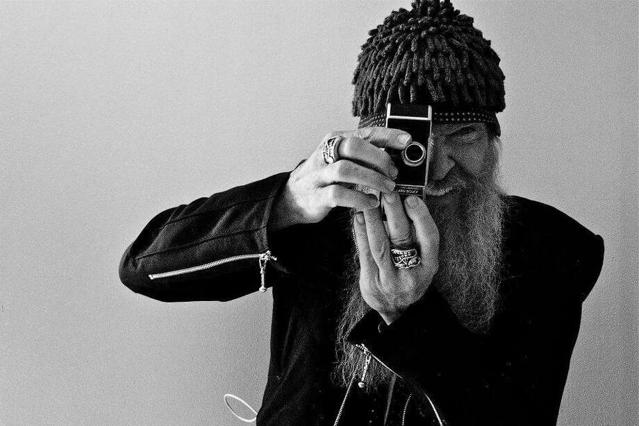 ZZ Top Billy Gibbons with camera, BW
