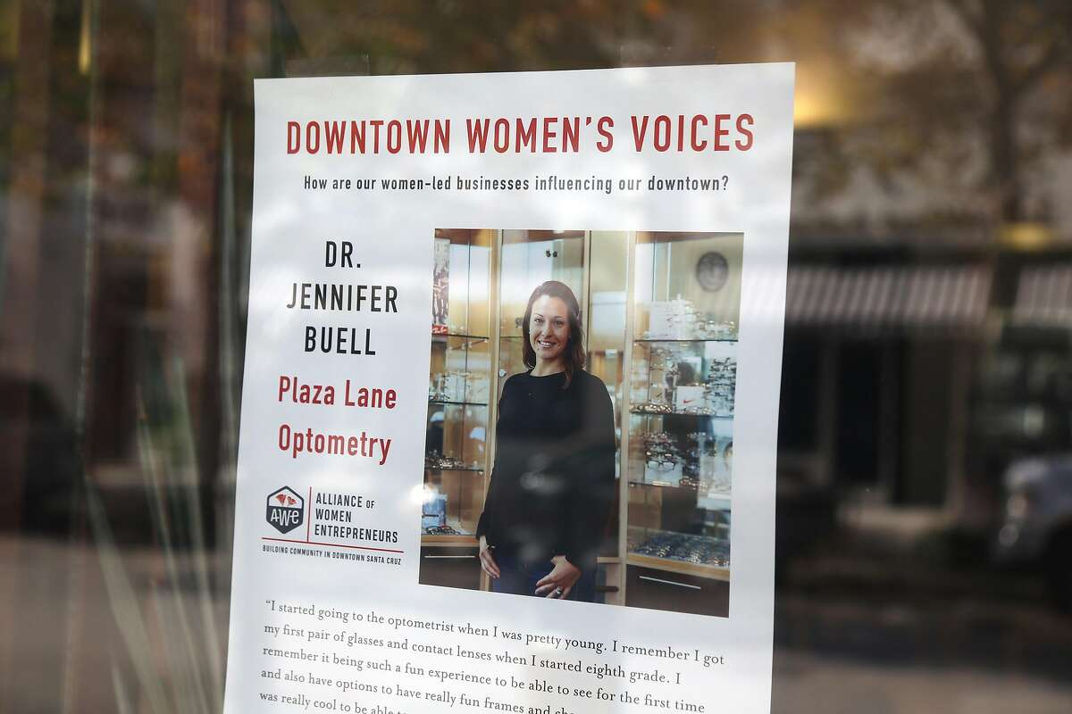 Poster seen in a window on Thursday, 11/01, 2018 in downtown Santa Cruz, California. Santa Cruz has the fourth highest female owned businesses in the country and female entrepreneurs in downtown recently created the Alliance of Women Entrepreneurs.