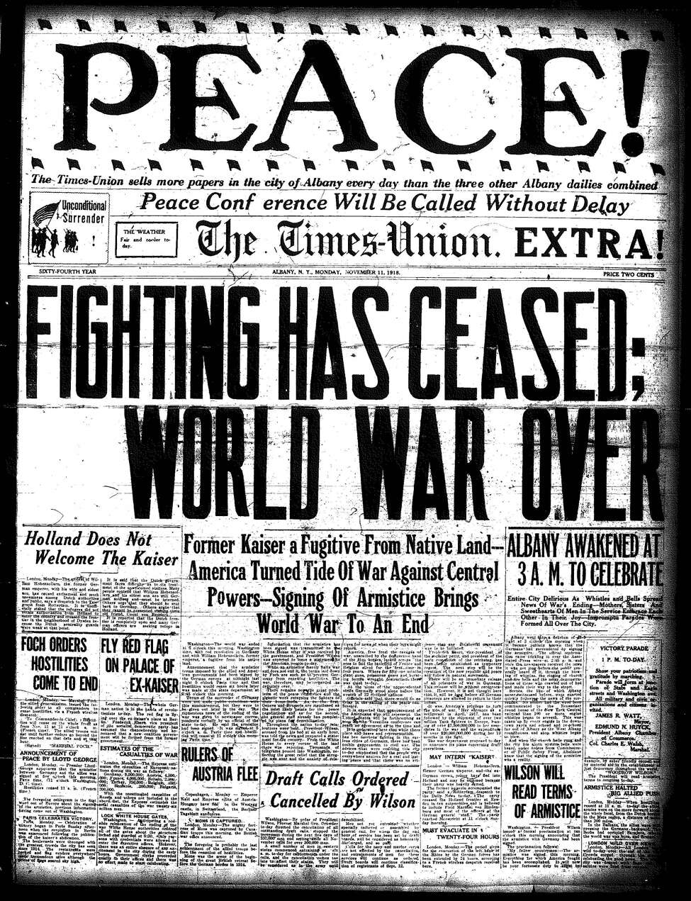 Times Union front page from November 1918