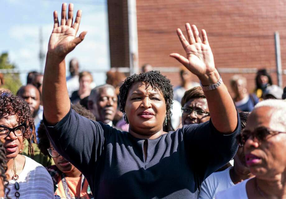 Stacey Abrams, Democratic nominee for Georgia governor Stacey Abrams, addresses a crowd outside of Ebenezer Missionary Baptist Church in Macon, Ga., on Oct. 15, 2018. Photo: Washington Post Photo By Melina Mara / The Washington Post