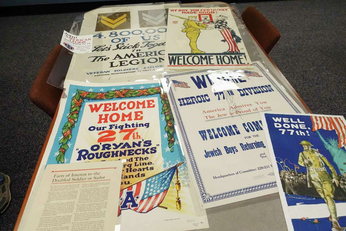 A view of some posters from WW I, seen at the New York State Museum on Thursday, Nov. 8, 2018, in Albany, N.Y. (Paul Buckowski/Times Union)