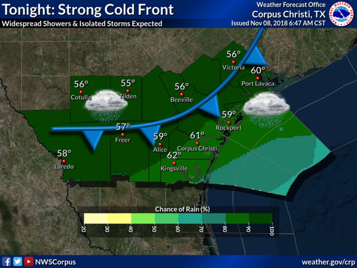 A strong cold front is expected to sweep through South Texas tonight resulting in widespread showers and isolated thunderstorms.