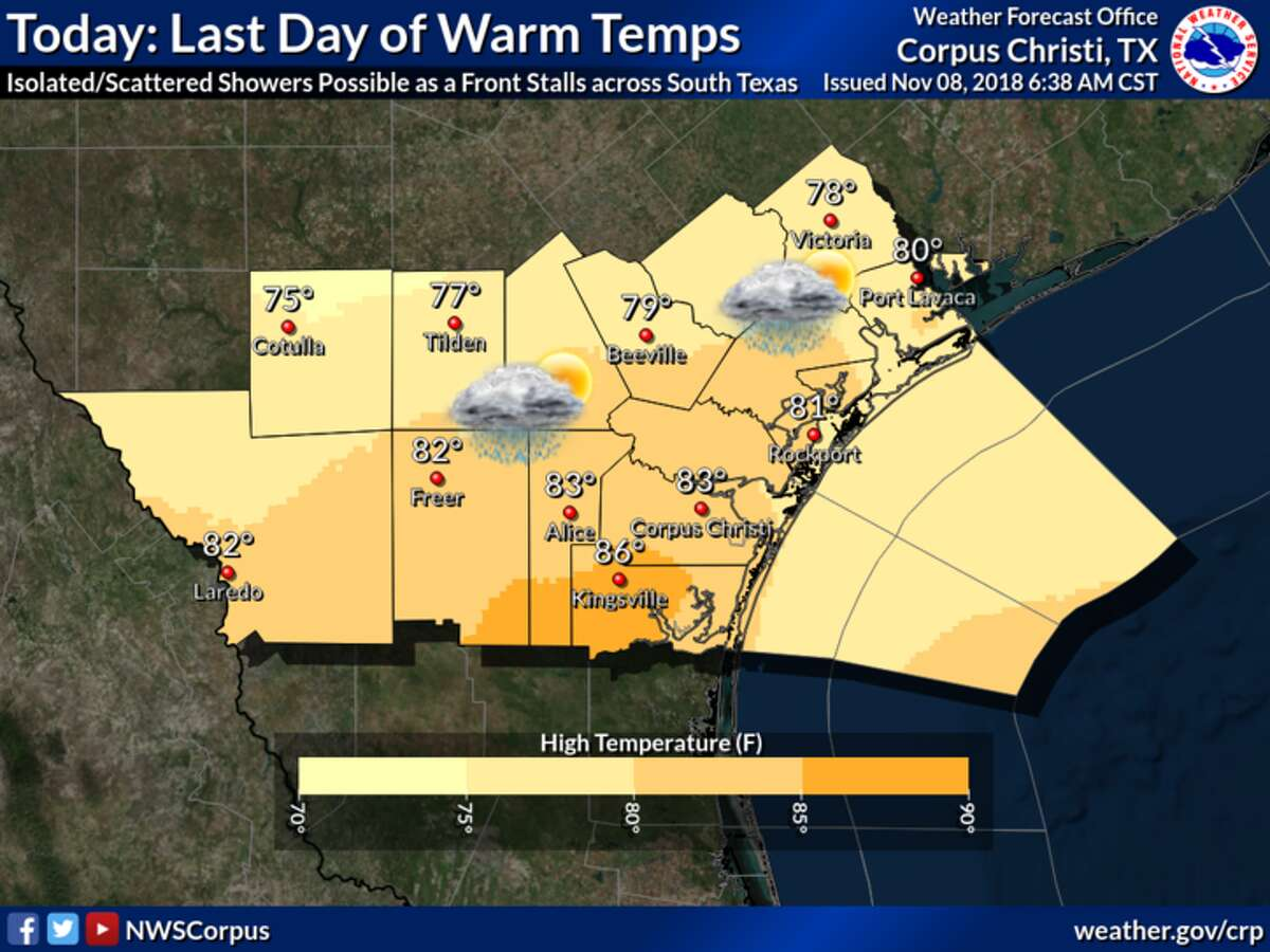Today will be the last day of warm temperatures as a strong cold front will push through overnight, according to the NWS.