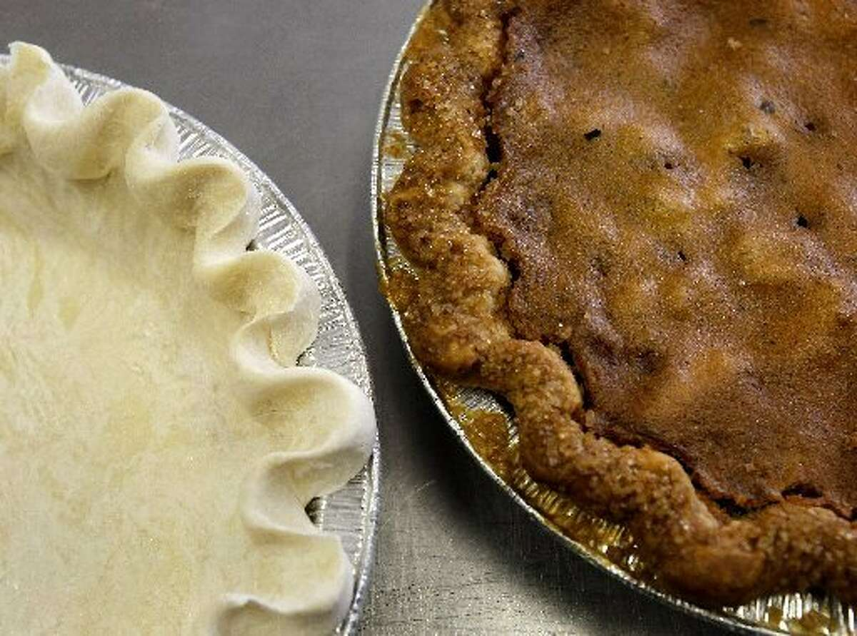 Before and after shots of Three Babes Bakeshop's pies.