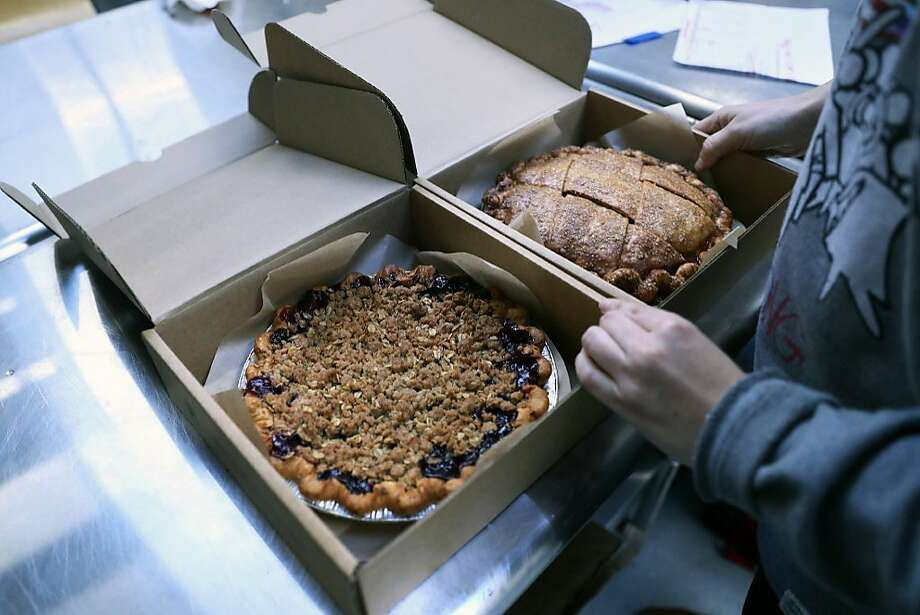Filling pie orders at Three Babes Bakeshop. Photo: Scott Strazzante, The Chronicle 2017
