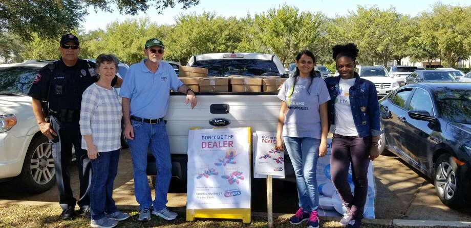 Pictured from left are Officer Martin Tavarez, FBISD Police Department; Mary Kiernan, FBISD SDFS Specialist; Dr. Terry Sheneman, FBISD SDFS Coordinator; and Devanshi Vaishnav and Lauren Ibekwe, Fort Bend Regional Council on Substance Abuse.
